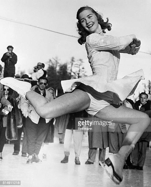 2/8/1948StMoritz Switzerland Barbara Ann Scott displays the form that won her the Woman's Figure Skating Championship and the Gold Medal at the...