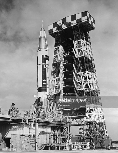 2/8/1958Cape Canaveral FL Photo shows the Atlas standing on its launching pad at the test center at Cape Canaveral Florida The gantry tower used in...