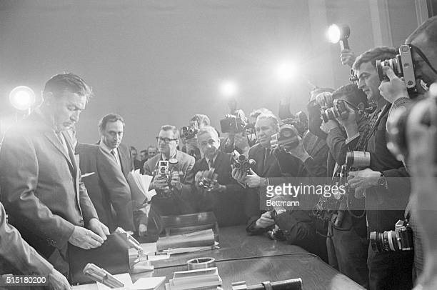 2/8/1967Washington DC Adam Clayton Powell faces a battery of photographers as he takes the witness table to appear today before a Special House...