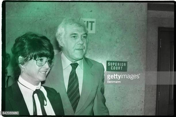 2/8/1979Los Angeles CA Michelle Triola Marvin and her attorney Marvin Mitchelson leave court after a session of what has been termed the landmark Lee...