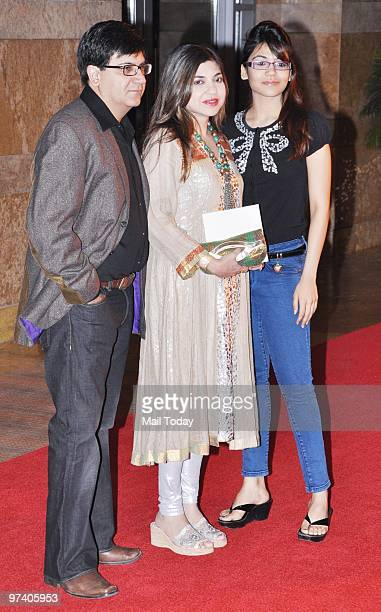 Alka Yagnik with her family at Big Pictures' success bash held in Mumbai on February 28 2010