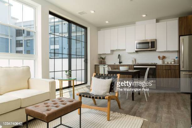 Living area and Kitchen in Unit 502 at The Archie on July 28, 2021 in Washington DC.