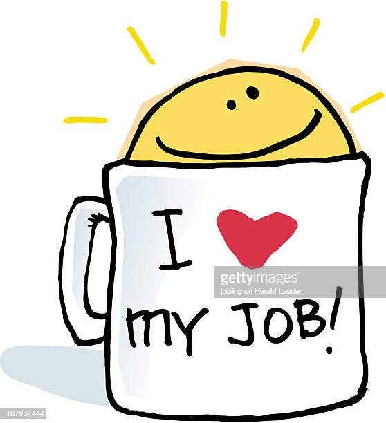 28p x 31p Chris Ware color illustration of a coffee mug labeled I love my job with a happy faced sunshine rising from the top