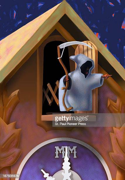 28p x 40p Kirk Lyttle color illustration of Grim Reaper coming out of cuckoo clock as it strikes the Millenium