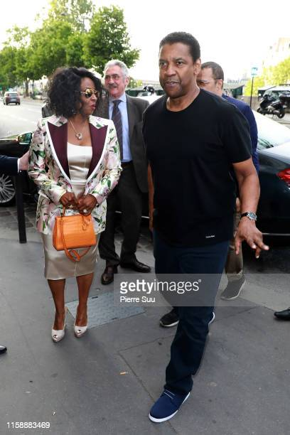 28t Denzel Washington and his wife Pauletta Washington arrive at at 'La Perouse' restaurant where a dinner is given to celebrate Zoe Kravitz and Karl...