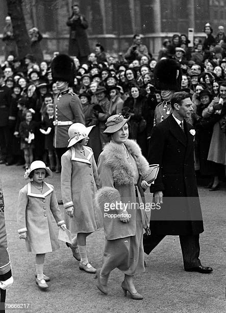 28th April 1938 London England King George VI with Queen Elizabeth and Princesses Margaret and Elizabeth later Queen Elizabeth II pictured at a...