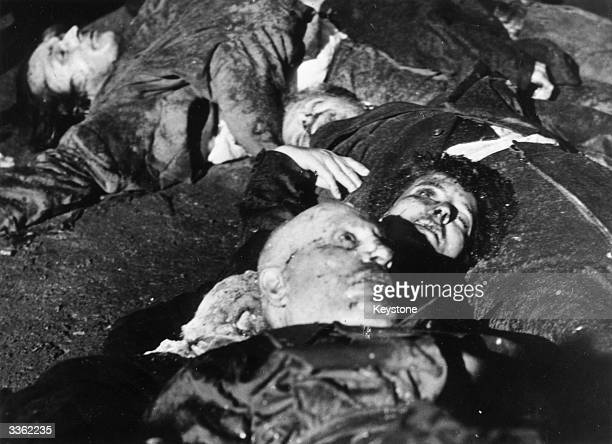 Benito Mussolini the Italian dictator lies dead in Milan's Piazza Loroto with his mistress Claratta Petacci
