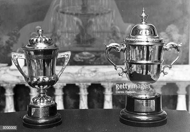 The Cheltenham Gold Cup on display at the National Sporting Trophies Exhibition in Hutchinson House London The trophy is loaned by Dorothy Paget...