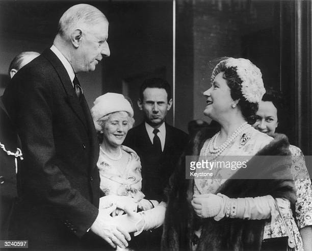 Queen Elizabeth The Queen Mother meeting President Charles de Gaulle at the Elysee Palace in Paris The British ambassador Rene Brouillet is in the...