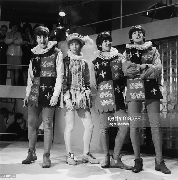 The Beatles in tudor costumes during rehearsals for Redifussion's television programme 'Round The Beatles' Left to right John Lennon Ringo Starr...