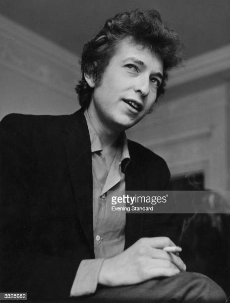 American electric folk hero Bob Dylan at a press conference in London