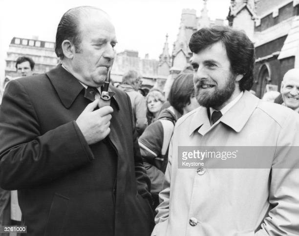 Irish MP Neil Blaney and Owen Carron, the newly elected MP Bobby Sands' election agent, at the House of Commons, London, to discuss the situation...