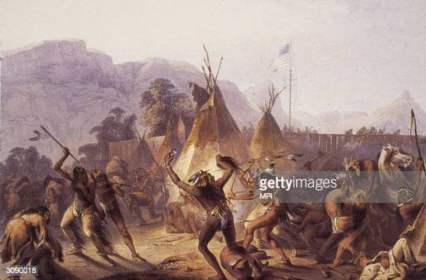 Native Americans fighting outside the walls of Fort Mackenzie Montana Original Artwork Painting by Karl Bodmer