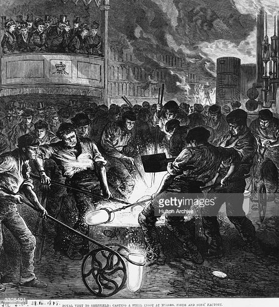 Members of the Royal family watching workers casting steel ingots during a visit to a factory in Sheffield Original Publication Illustrated London...