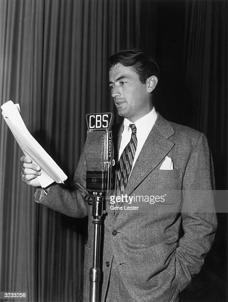 EXCLUSIVE American actor Gregory Peck reads from a script into a CBS microphone during the recording of the radio show 'Mr Fights'