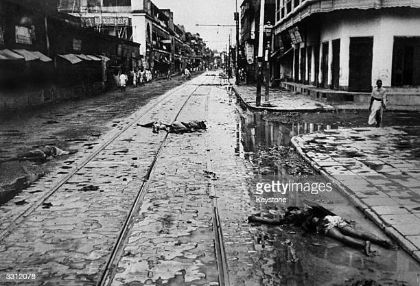 Bodies in the main thoroughfare at Calcutta after riots and disturbances