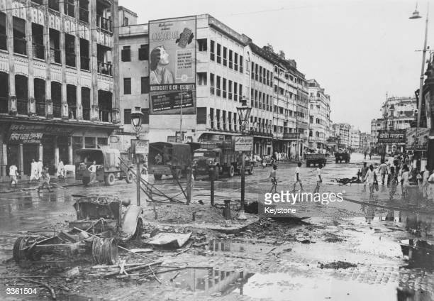 The aftermath of rioting between Hindus and Muslims at a road junction in north Calcutta