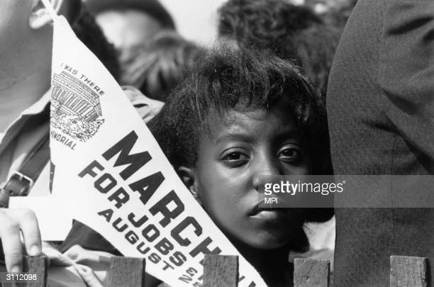 Young marcher during the march for jobs and freedom to the Lincoln Memorial in Washington DC, where Martin Luther King made his famous 'I have a...
