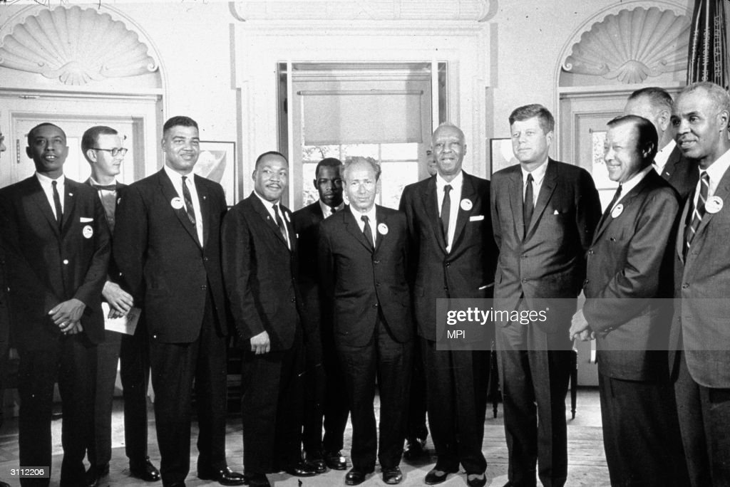 American President John F Kennedy (1917 - 1963) in the White House with leaders of the civil rights 'March on Washington' (right to left) Roy Wilkins (1910 - 1981), Walter Reuther (1907 - 1970), Vice-President Lyndon Baines Johnson (1908 - 1973), John F Kennedy, A Philip Randolph (1889 - 1979), Rabbi Joachim Prinz, John Lewis, Martin Luther King (1929 - 1968) and Whitney Young (1922 - 1971).