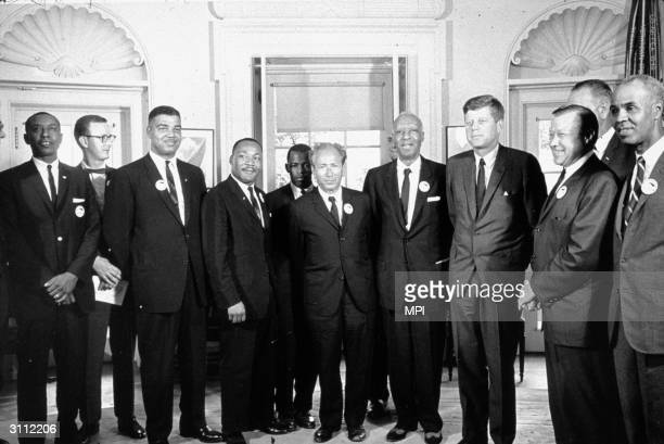 American President John F Kennedy in the White House with leaders of the civil rights 'March on Washington' Roy Wilkins Walter Reuther VicePresident...