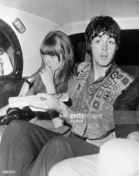 British rock star Paul McCartney and his girlfriend Jane Asher leaving a transcendental meditation course in Bangor North Wales after hearing of the...