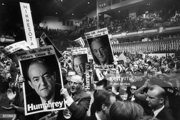 Delegates hold up HUMPHREY posters and signs at the Democratic National Convention Chicago Illinois Vice President Hubert Humphrey won the nomination...