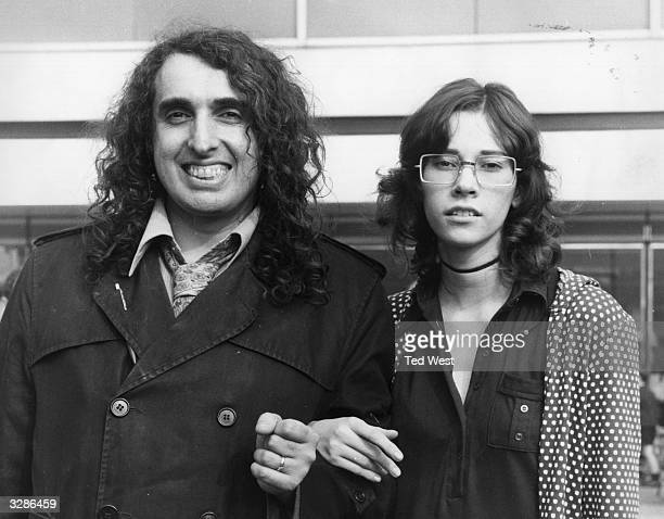 American pop singer Tiny Tim arrives at London's Heathrow Airport with his teenage wife Miss Vicki Tim brought his famous ukelele with him for his...