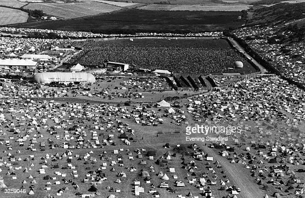 An aerial view of an open air rock concert on the Isle of Wight