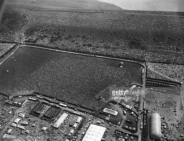 An aerial view of the huge crowds gathered for the Isle of Wight pop festival at East Afton farm Numbers are estimated at 120000