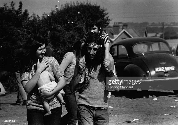 Hippy family at the Isle of Wight pop festival