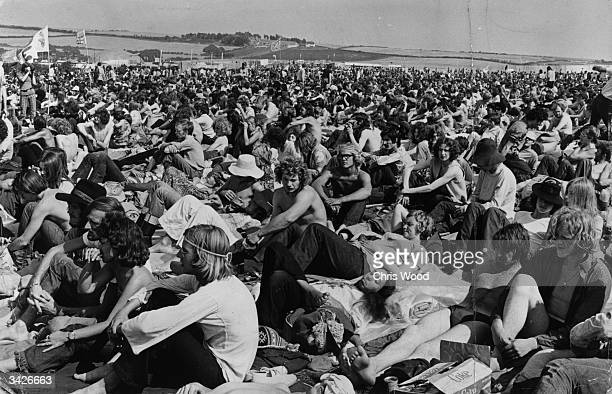 The crowd at a pop concert on the Isle of Wight