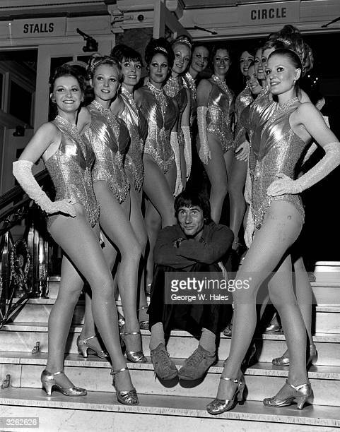 British entertainer Jim Dale with the Tiller Girls at the London Palladium