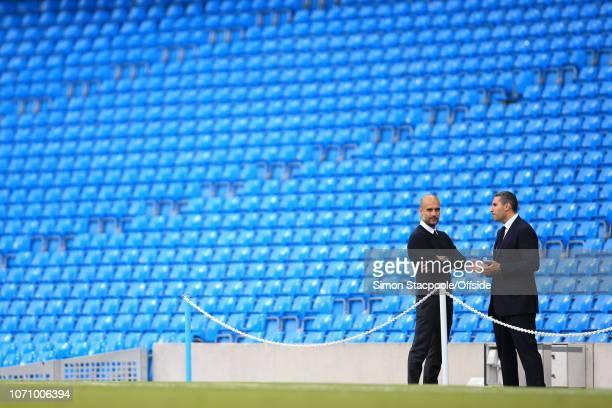 28th August 2016 - Premier League - Manchester City v West Ham United - Man City manager Pep Guardiola and Man City chairman Khaldoon Al Mubarak talk...