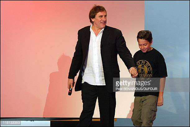 28th Cesar awards ceremony in theatre du Chatelet in Paris France on February 22 2003 Gerard Depardieu and Antoine Pialat son of late Maurice Pialat