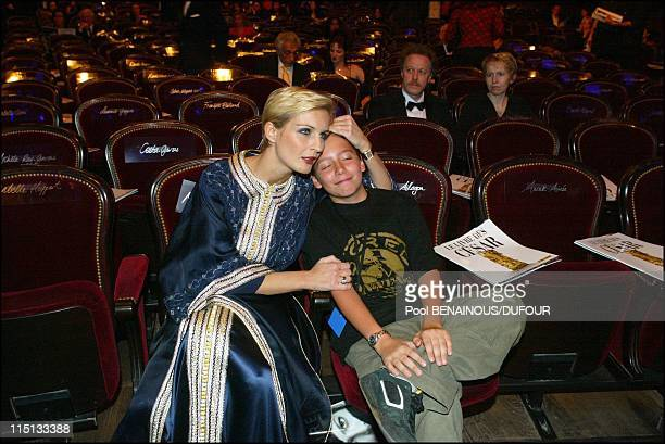 28th Cesar awards ceremony in theatre du Chatelet in Paris France on February 22 2003 Melita Toscan du Plantier and Antoine Pialat son of late...