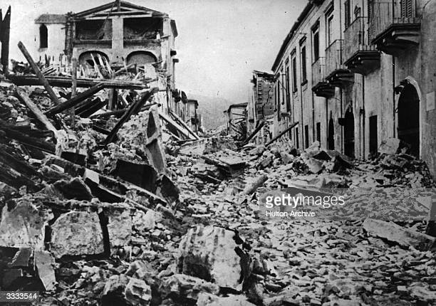 A view of Messina shortly after the terrible earthquake which destroyed twothirds of the town There were 126000 victims more than 66000 from the town...