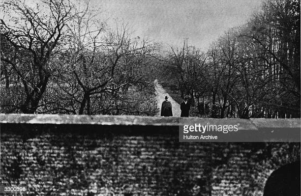 Wilhelm II of Germany Emperor from 1888 and the son of Frederick III and Victoria daughter of Queen Victoria of England in the gardens of his home...