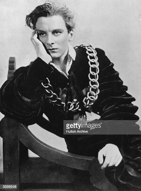 English actor John Gielgud in costume for his role as 'Hamlet'