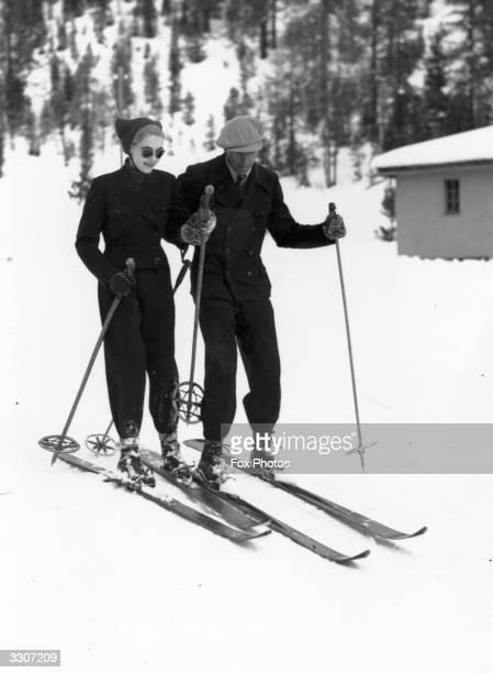 Countess von HaugwitzReventlow the Woolworth heiress enjoys thje winter sports at St Moritz with her new husband Count Kurt von HaugwitzReventlow