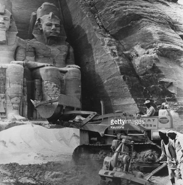 Modern machinery is used in salvaging the Abu Simbel Temple as part of the Aswan Dam Project