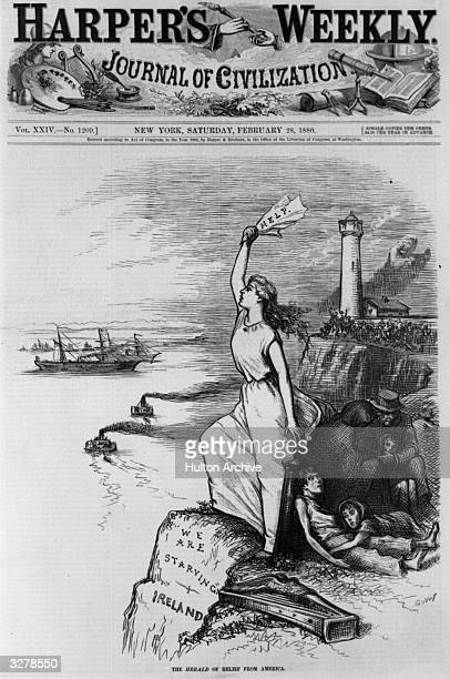 The cartoon on the front cover of 'Harper's Weekly' 'We are starving in Ireland the Herald of relief from America' The Great Famine was caused by the...