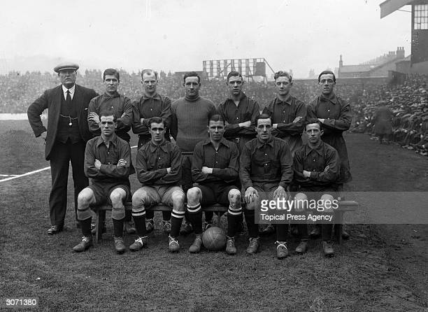 The North England Team at Burnley in Lancashire L to R standing ex Burnley goalie Jack Hillman Liverpool player J Bamber W Cresswell of South Shields...