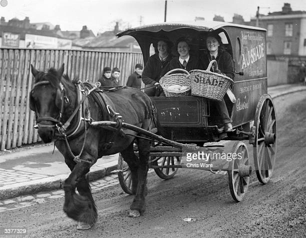 Sisters Alice and Corrie Shade and their sister inlaw Emily delivering bread in Gravesend Kent from their horse drawn van