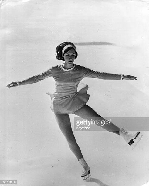 Figure skater Peggy Fleming competing in the free skating event in the World Figure Skating Championships at Davos, Switzerland.