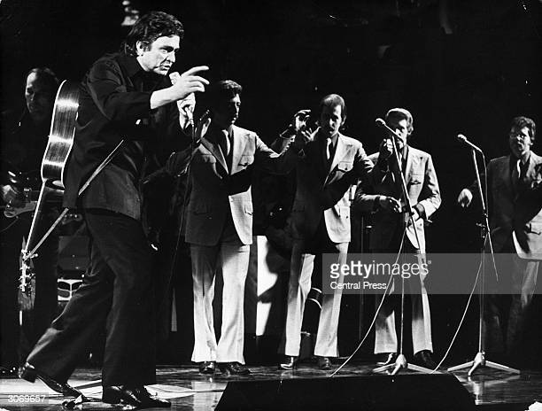 American country singer Johnny Cash appears on Grand Gala du Disque in Amsterdam
