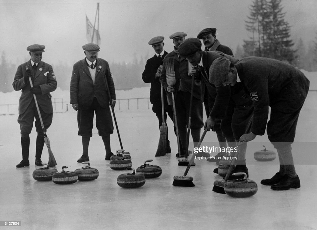 The British Curling team during the Winter Olympics at Chamonix, France.