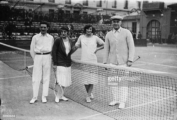 French tennis player Suzanne Lenglen in the mixed doubles final with M Jacques, Mrs Satterthwaite and F M B Fisher at the Monaco Championships.