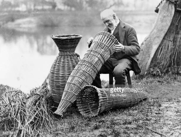 An old Severn fisherman making conical willow 'putcher' baskets used for catching salmon and eels.