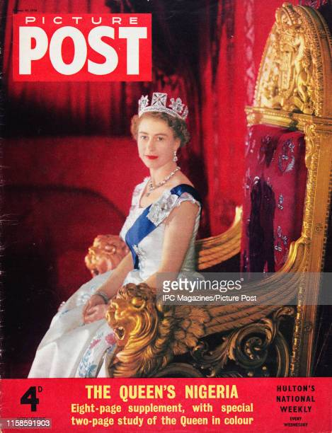 Portrait of Queen Elizabeth II in the ballroom of Buckingham Palace is featured for the cover of Picture Post magazine. Original Publication: Picture...