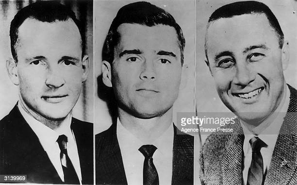 The three man crew of the Apollo 1 spacecraft who were all killed during a rehearsal when fire swept the Saturn rocket on its launch pad at Cape...